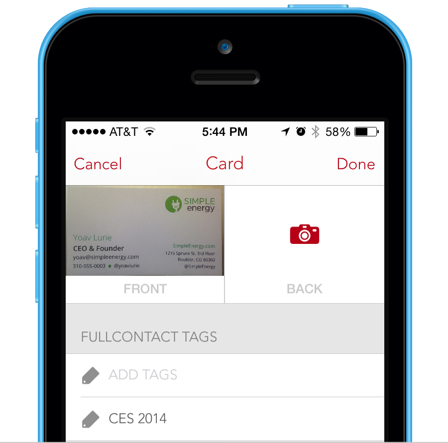 FullContact Card Reader for iOS Tags